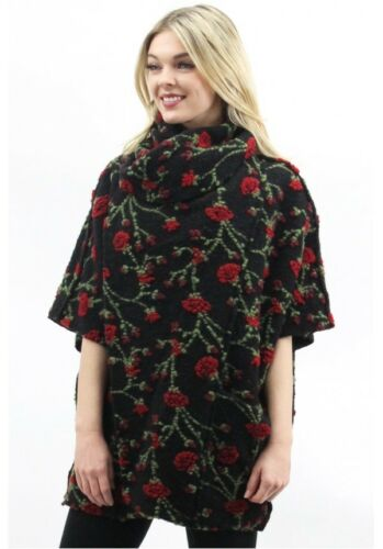 MADE IN ITALY Vintage ROSE Wool Cape ROSEN Wollmantel S//M//L 36-42