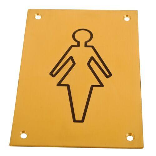 Laiton Poli Gravé Femme Toilette Signe 150x100mm Porte Signe PBL toilettes WC