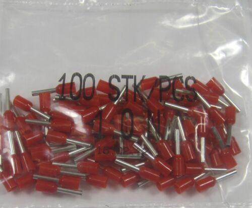 100 pezzi terminatore 1,00 mm² qmm isolato terminatore rosso Nuovo OVP 1,00 mm²
