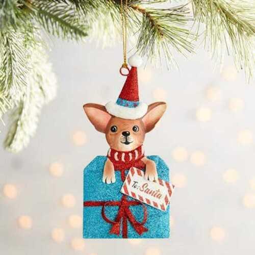 Pier 1 Metal Glittered CHIHUAHUA DOG PRESENT Christmas Ornament New To Santa