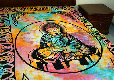 "Buddha Tapestry Hippie Tie Dye Decorative Wall Hanging-Lt Bedspread-72"" x 108"""