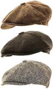 Mens-Herringbone-Baker-Boy-Caps-Newsboy-Hat-Country-Style-Gatsby-Flat-Cap