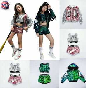Details about Children\u0027s jazz dance costumes girls sequins street dance hip  hop show costumes