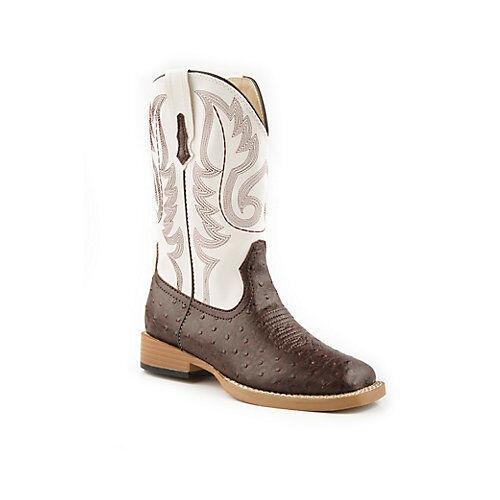 Roper Kids Sq  Toe 9in Faux Ostrich Brown Boots  no tax