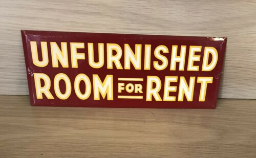 1940s Reflective Unfurnished Room For Rent Sign
