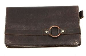 Vintage-DKNY-Brown-Leather-Clutch-Wallet