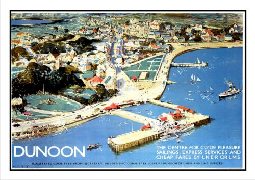 Dunoon Railway Vintage Poster Town Cowal Scotland Old Advert Beach Sea Holiday