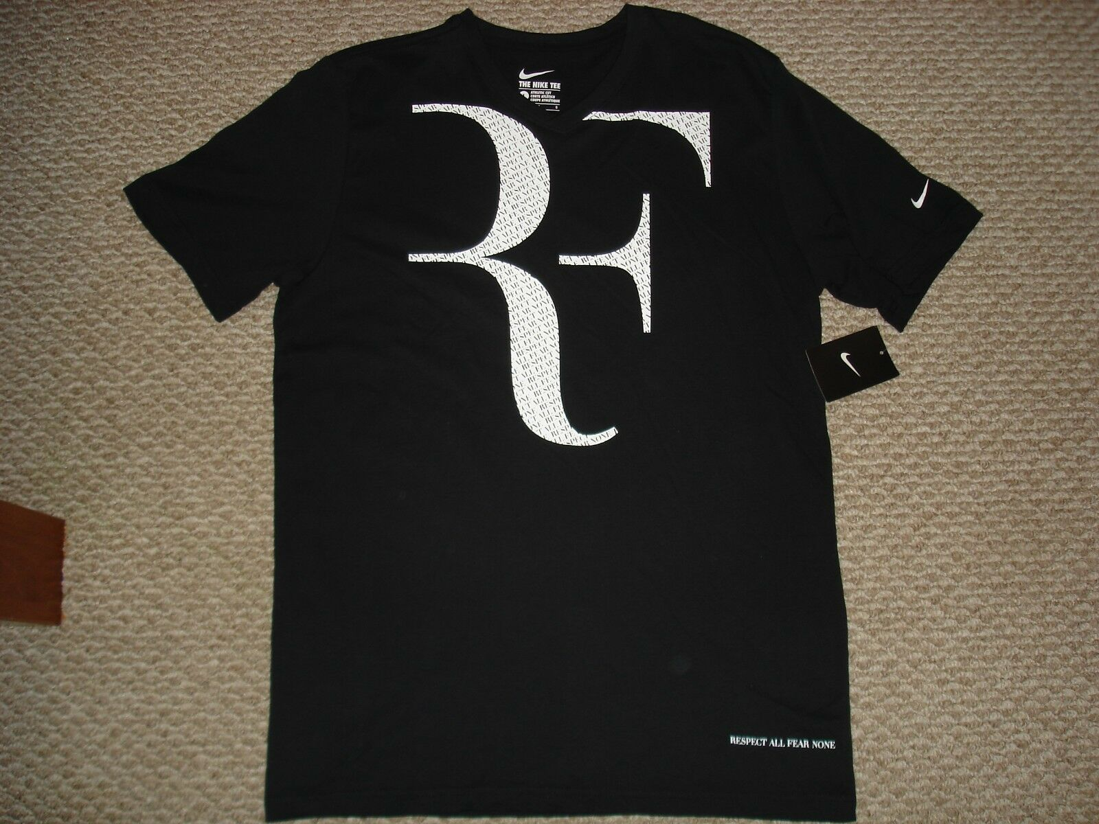 Mens Nike Rf Short Sleeve Size L V Neck Tennis Tee Shirt 646559 010