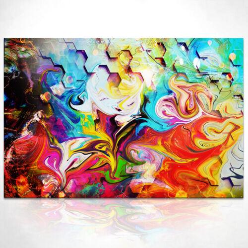 Wandbilder Abstrakt Bunt Farbe Bild auf Leinwand Kunst Bilder XXL  D1294