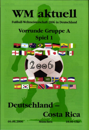 2006 World Cup Programme 1 Germany Costa Rica, 09.06.2006 in Munich
