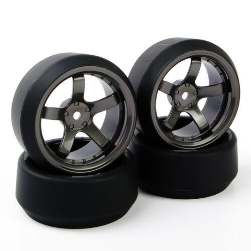4Pcs 12mm Hex Flat Drift Tires/&Rim Fit RC HSP 1:10 On-Road Racing Car D5M+PP0370
