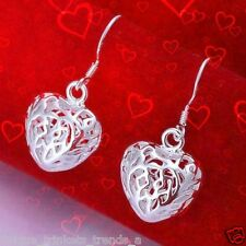 STERLING SILVER PLATED HEART EARRINGS~GRADUATION GIFT FOR HER GIRL WOMEN FRIEND