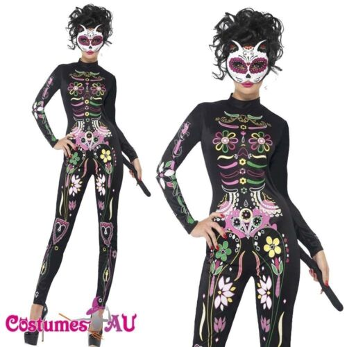 Sugar Skull Cat Ladies Mexican Day of The Dead Costume Halloween Fancy Dress UP