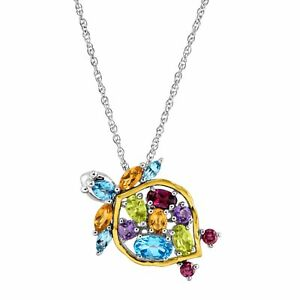 2-1-2-ct-Natural-Multi-Stone-Turtle-Pendant-in-Sterling-Silver-amp-14K-Gold