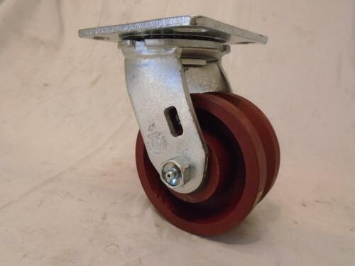 "4/"" x 2/"" Swivel Caster 7//8/"" V-Groove Ductile Steel Wheel 1250 lbs"