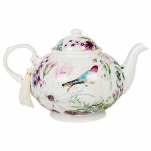Delton-Teapot-Daisy-Bird-Pastel-Flowers-Porcelain-Gift-Box