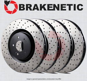 FRONT + REAR BRAKENETIC PREMIUM Cross DRILLED Brake Disc Rotors BPRS71384