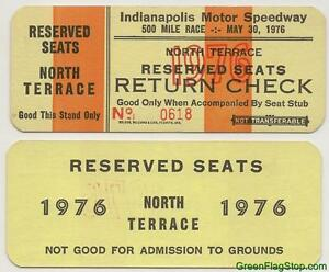 1976-Indianapolis-500-North-Terrace-Return-Check-Ticket-Credential-Brickyard