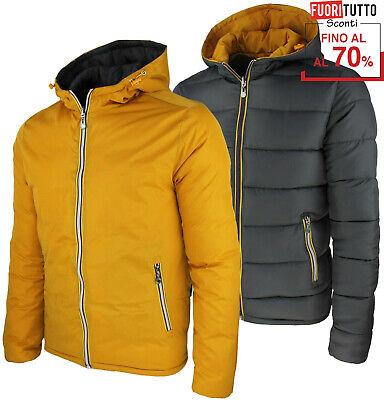 Piumino con cappuccio invernale giubbotto reversibile double face giubbino RDV | eBay