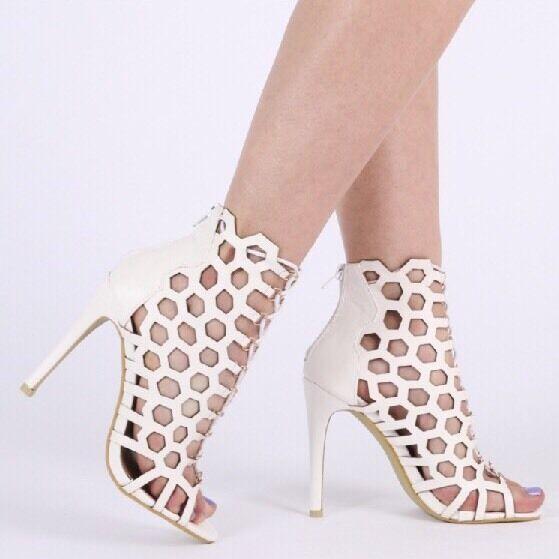 Public desire Dakota Caged Heels In White in White UK 7