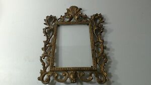 VTG-Antique-Cast-Iron-amp-Gold-Gilt-Ornate-Rococo-Style-Picture-Frame-12-034