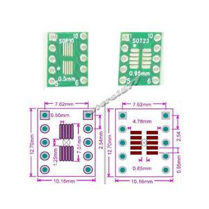 20pcs SOP10 SOT23 to DIP10 Converter PCB + 5pcs 1X40P Single Row Pin Header s545