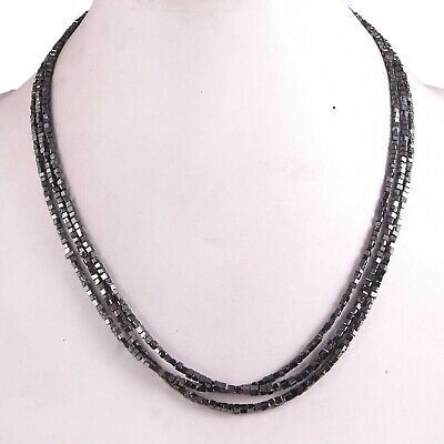Certified Natural 15.00ctw Cut Black Diamond Bead Necklace 24 Inches