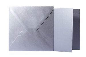 25x Briefumschläge Klappkarten quadratisch Schwarz 14x14 cm // 13,5x13,5 cm