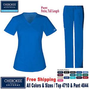 Cherokee-Ropa-Quirurgica-Set-Core-Elastico-Top-con-Cuello-en-V-amp-Cargo-Pantalon