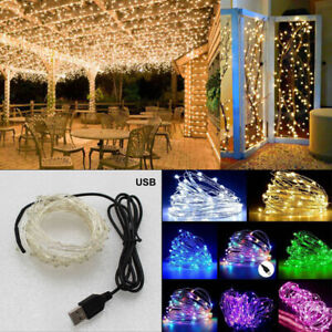 USB-Connector-LED-String-Fairy-Lights-2-5-10M-100-LEDs-Copper-Wire-Party-Decor