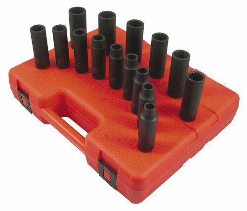 Sunex 2672 15-piece 1//2 In Drive 12-point Deep Metric Impact Socket Set