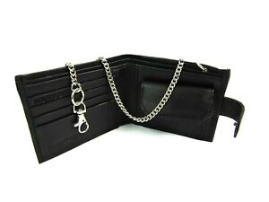 New-Mens-Black-Leather-Chain-Wallet-Credit-Card-Holder-Security-Rfid-Protected
