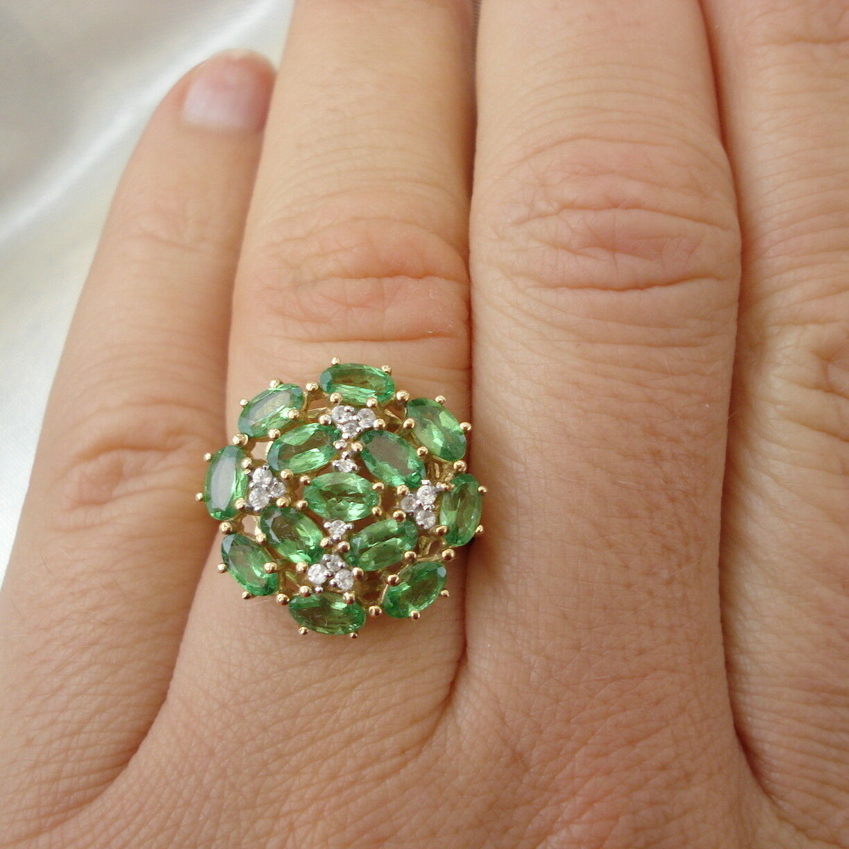Huge Natural Tsavorite gold Cluster Ring
