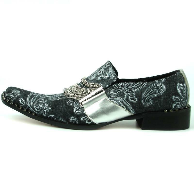 Herren Fiesso Silber Geprägtes Leder Silberkette Spitze Schuhe Fi 7322