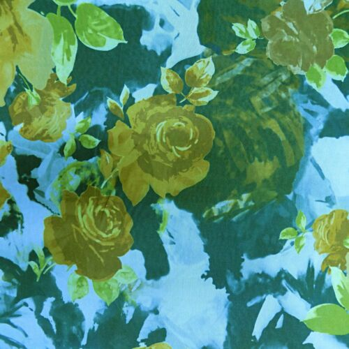 Brown Yellow Floral Roses Soft Stretch Polyester Flowers Dressmaking Fabric