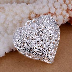 Fashion-925-Jewelry-Silver-Plated-Flower-Heart-Pendant-New-Women-Ladies-Gifts