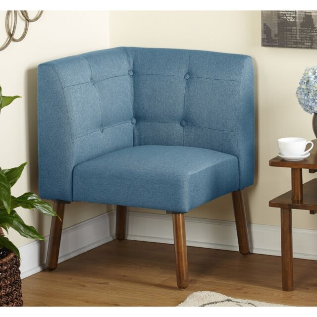 Blue Corner Chair Mid Century Seating Contemporary Fabric Wood Accent Nook  Seat