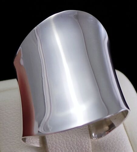 925 Sterling Silver WIDE Open Cylinder Cigar Band Wrap Ring Polished Shiny Sz 7