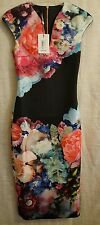 TED BAKER BRYNEE FOCUS BOUQUET FLORAL BODYCON neoprene DRESS size 1 uk 8 £159