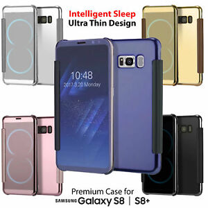 Intelligent-Vue-Miroir-RABATTABLE-PORTEFEUILLE-Boitier-House-pour-Samsung-Galaxy