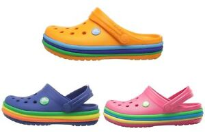 39d5c5fef90a Image is loading Crocs-Kids-Crocband-Rainbow-Band-Clog-Blue-Pink-