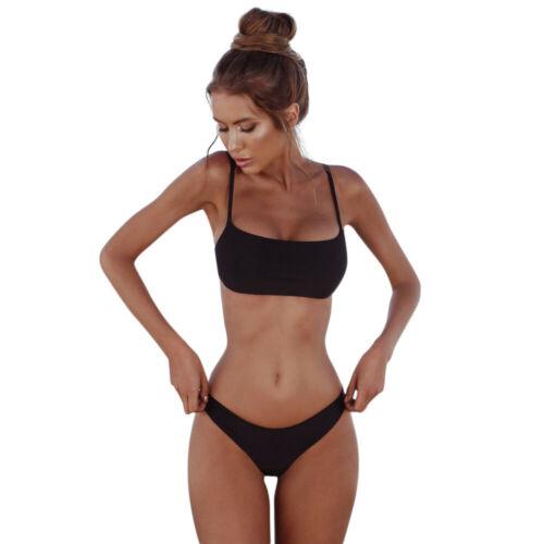 Women Pure Color Bikini Sets Padded Bra Tops Thong Bottoms Swimwear Swimsuit Set
