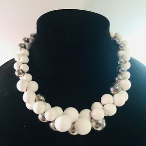 Vintage-Signed-Yousi-Silver-Tone-White-Bead-Beaded-Statement-Bib-Bauble-Necklace