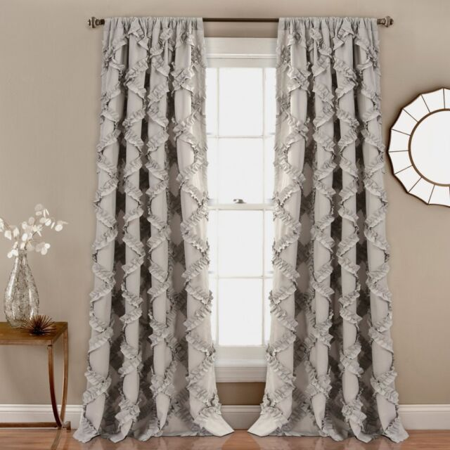 Pleasing Farmhouse Shabby Chic Country Ruffled Luxury Gray Curtains Set Panels Drapes Download Free Architecture Designs Xerocsunscenecom