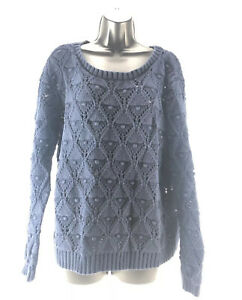 Tommy-Hilfiger-Women-039-s-Sweater-Cable-Knit-Navy-Blue-Chunky-Crewneck-Size-XL