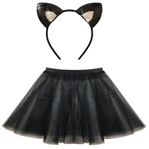Cat Tutu Black w//Tail Halloween Fancy Dress Costume Outfit Womens Adult UK 10-12