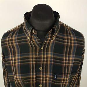 IZOD-Mens-Vintage-Shirt-XLT-3XL-Long-Sleeve-Brown-Regular-Fit-Check-Cotton