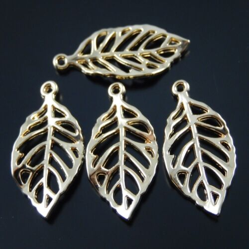 24*13*2mm Rose Gold Alloy Leaves Shaped Handmade Pendant Necklace Jewelry 30pcs