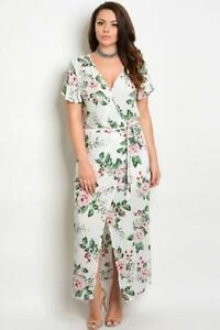 41bad2493057 Image is loading Off-White-Floral-Print-Belted-Surplice-Maxi-Dress-