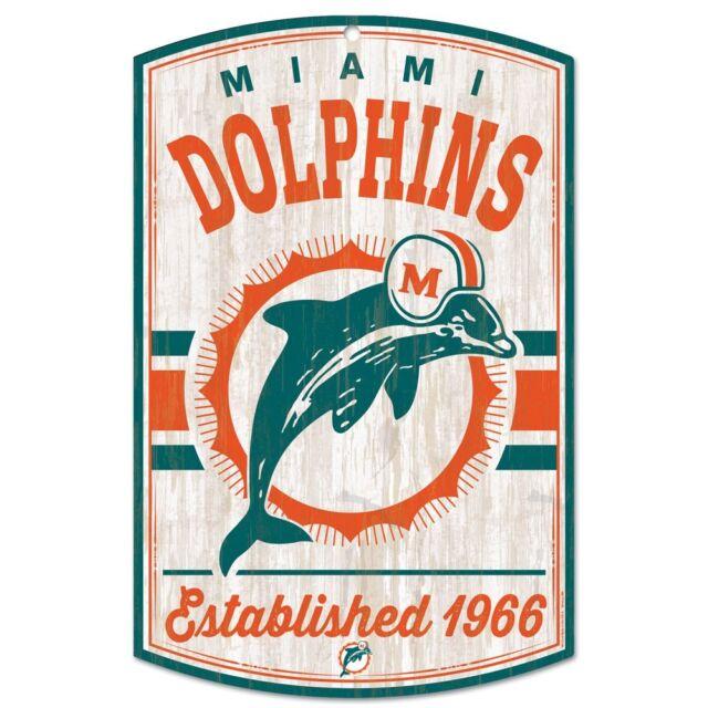 huge discount 6493c 2ca8f MIAMI DOLPHINS CLASSIC RETRO LOGO EST. 1966 WOOD SIGN 11
